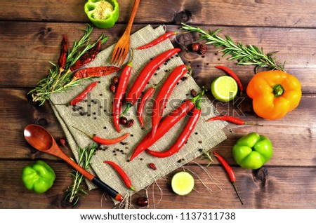 Peppers and herbs flat lay #1137311738