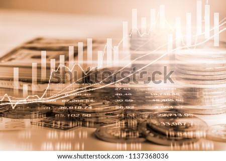 Stock market or forex trading graph and candlestick chart suitable for financial investment concept. Economy trends background for business idea and all art work design. Abstract finance background. #1137368036