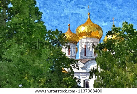 Golden domes of the Orthodox Church. Oil paint on paper. Naive art. Abstract art. Painting oil paint, color pencil on paper. #1137388400