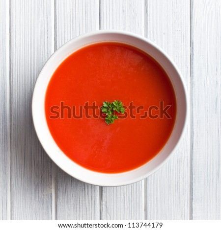 tomato soup on kitchen table. top shot #113744179