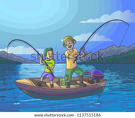 Father fishing with son on a boat at Night.