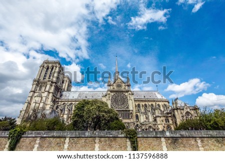 Notre Dame de Paris Cathedral, most beautiful Cathedral in Paris. View from the River Seine. France. #1137596888