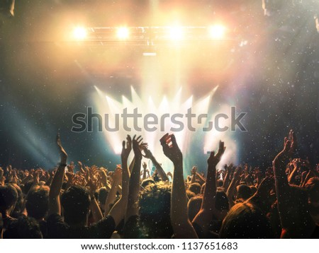 Concert shot with floating dust and distress effect #1137651683