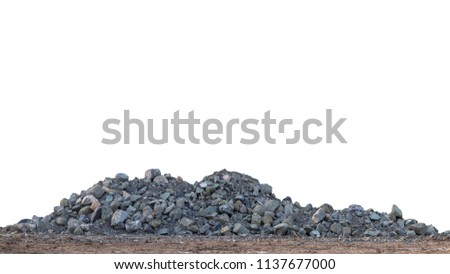 Isolate View A large granite pile on the ground to prepare for use as a construction material. Royalty-Free Stock Photo #1137677000