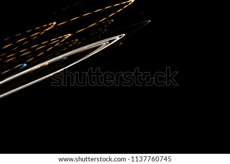Speed motion abstract background in the dark night,light lines with long exposure #1137760745