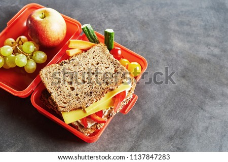 School lunch box with fresh healthy fruit, veggies and wholegrain cheese and tomato sandwich on a slate background with copy space #1137847283
