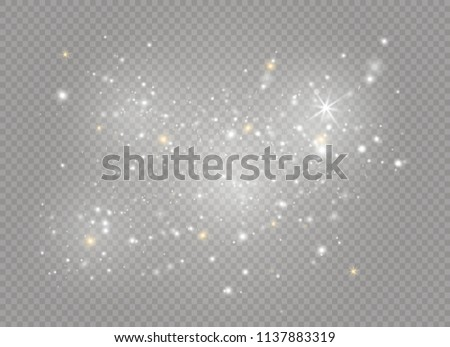 White sparks and golden stars glitter special light effect. Vector sparkles on transparent background. Christmas abstract pattern. Sparkling magic dust particles #1137883319