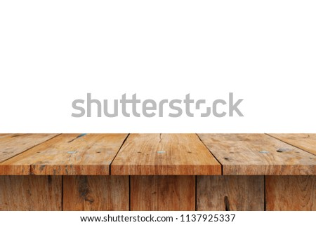 Wood Shelves Table isolated on white background #1137925337