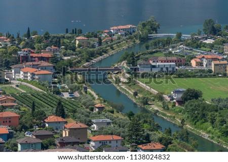 The lake Garda. The Arco city, Italy. #1138024832