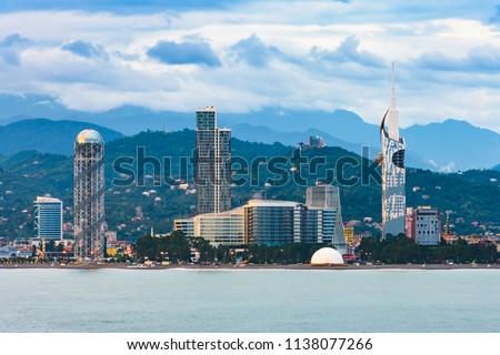 Beautiful Batumi, Georgian resort city and port at Black Sea – panoramic view from sea in early summer morning #1138077266