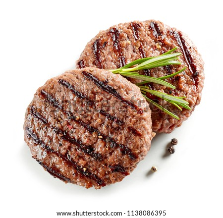 freshly grilled burger meat isolated on white background, top view #1138086395