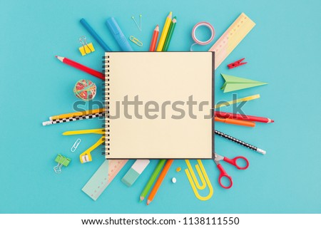 School notebook and various stationery. Back to school concept. Royalty-Free Stock Photo #1138111550