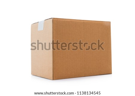 Closed cardboard box taped up isolated on a white background with clipping path. #1138134545