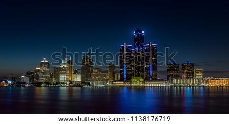 Detroit, Michigan skyline at night shot from Windsor, Ontario #1138176719