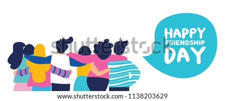 Happy friendship day web banner with diverse friend group of people hugging together for special event celebration. EPS10 vector. Royalty-Free Stock Photo #1138203629