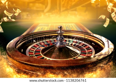 Collage of casino images with a close-up vibrant image of multicolored casino roulette table with poker chips Royalty-Free Stock Photo #1138206761