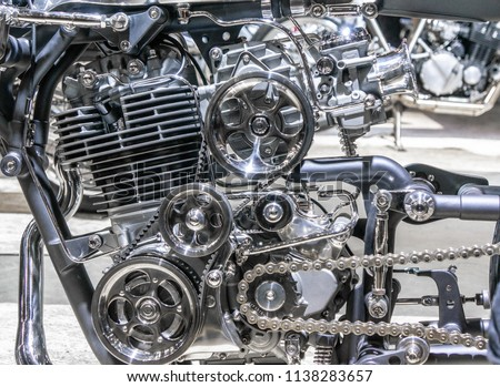Car engine, concept of modern vehicle motor with metal, chrome, plastic parts, heavy industry #1138283657