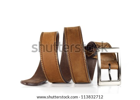 Leather belt for men on white background. Royalty-Free Stock Photo #113832712