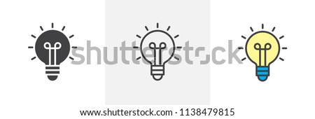 Light bulb icon. Line, solid and filled outline colorful version, outline and filled vector sign. Idea Symbol, logo illustration. Different style icons set. Vector graphics Royalty-Free Stock Photo #1138479815