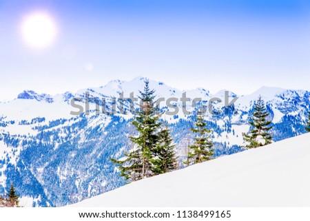 Winter landscape.  Alpine Alps mountain landscape #1138499165