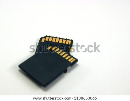 two black SD memory cards isolated on white backgroud. SDHC standard camera memory card device #1138653065