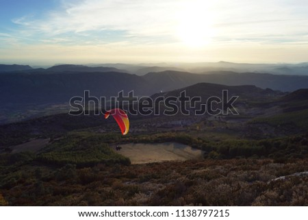 Paragliding at Ager, Catalonia, Spain #1138797215
