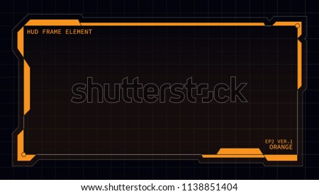 Creative HUD futuristic rectangle frame, virtual Hi-tech display, screen, element for user interface (ui) and control panel design vector template with Orange theme color #1138851404