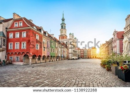 Stary Rynek square with small colorful houses and old Town Hall in Poznan, Poland #1138922288