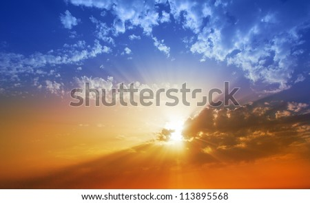 Sunset dramatic sky clouds in La Palma of Canary Islands #113895568