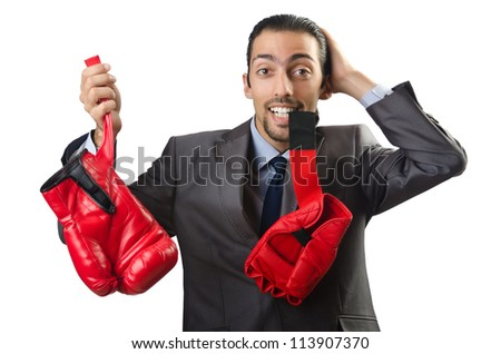 Handsome businessman with boxing gloves #113907370