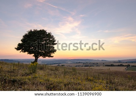 South downs Cissbury ring England UK, Sunset going down, near the village of Findon in West Sussex.  #1139096900
