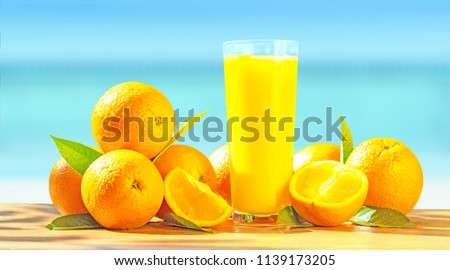 Fruit oranges and orange juice. #1139173205