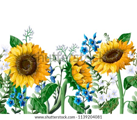 Border with Sunflowers bouquet and wild flower.