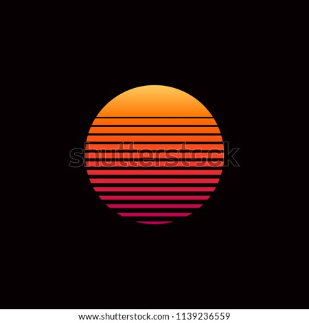 80s retro sunset vector illustration sunset poster space futuristic background