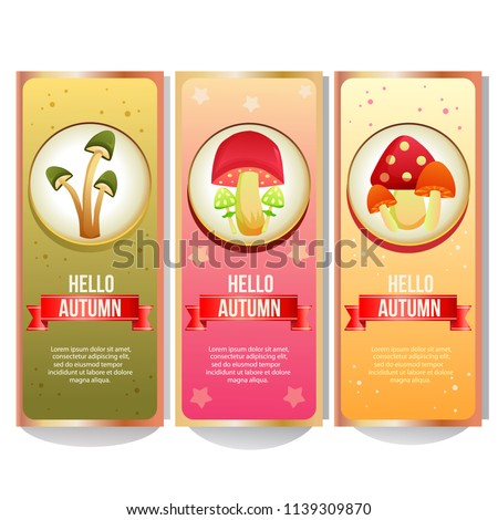 colorful autumn mushroom banner collection #1139309870