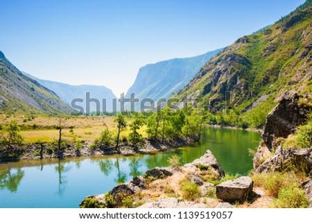 Summer landscape of Chulyshman river valley in Altai mountains, Siberia, Russia #1139519057
