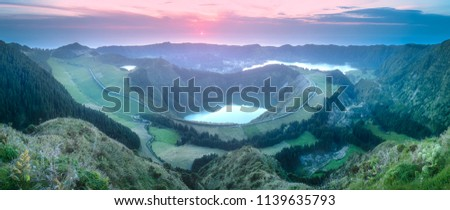 Mountain landscape with hiking trail and view of beautiful lakes Ponta Delgada, Sao Miguel Island, Azores, Portugal. #1139635793