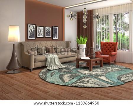 Interior of the living room. 3D illustration #1139664950
