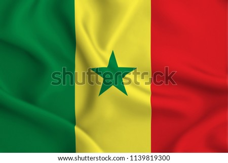 Senegal 3D waving flag illustration. Texture can be used as background. #1139819300