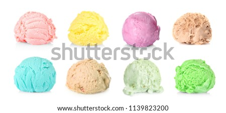 Ice cream scoops of different flavors on white background #1139823200
