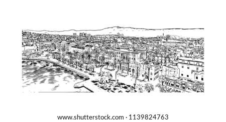 Landmark with building view of Split City in Croatia. Hand drawn sketch illustration in vector. #1139824763