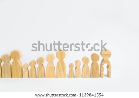 Generations of people are standing on a white background. The chain of procreation is interrupted by the last adult man who can not have children. Infertility, medical and social problems. #1139841554