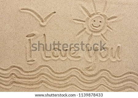 I love you handwritten in sand for natural, love,tourism or conceptual designs. Conceptual image