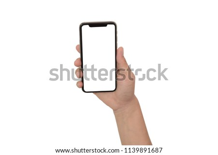 close up hand hold phone isolated on white, mock-up smartphone white color blank screen #1139891687