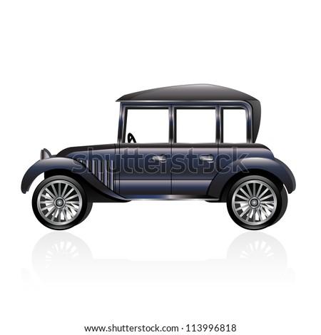 Illustration of an antique car. Raster.