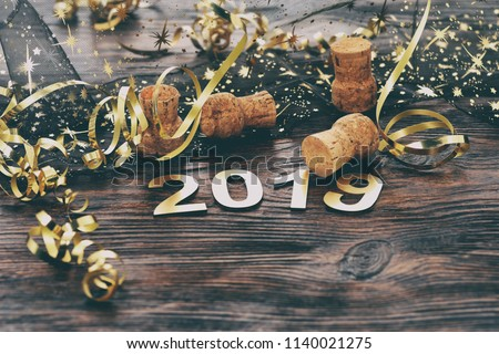 Happy New Year 2019. Symbol from number 2019 on wooden background.  #1140021275