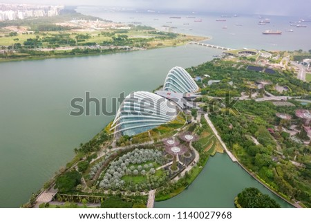SINGAPORE,SINGAPORE - AUG. 27 : Singapore aerial view on Auguest 27,2017 in Singapore,Singapore. It is a global commerce, finance and transport hub and has a diversity of languages,religions,cultures. #1140027968