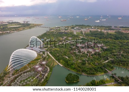 SINGAPORE,SINGAPORE - AUG. 27 : Singapore aerial view on Auguest 27,2017 in Singapore,Singapore. It is a global commerce, finance and transport hub and has a diversity of languages,religions,cultures. #1140028001