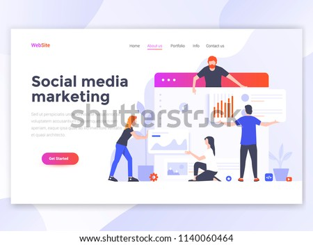 Landing page template of Social media marketing. Modern flat design concept of web page design for website and mobile website. Easy to edit and customize. Vector illustration Royalty-Free Stock Photo #1140060464