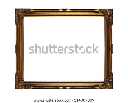 Vintage empty gold picture frame